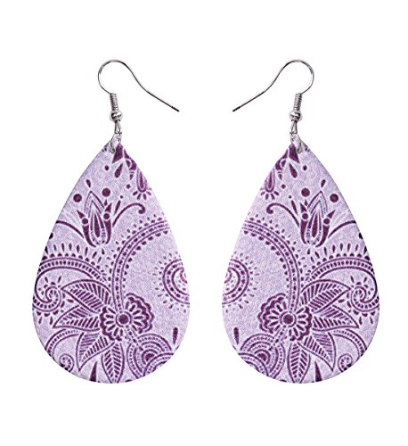 (Bohemia Vintage Leather Teardrop Leaf Dangle Pierced Earrings Jewelry (Purple))