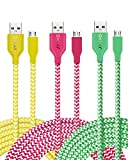 OKRAY 3 Pack 10ft Durable Braided Nylon Tangle-Free Micro USB 2.0 to USB Charge Cable Sync Charging Charger Cord for Android, Samsung, HTC, Google, Sony, Nokia, LG and More (Green Yellow Hot Pink)