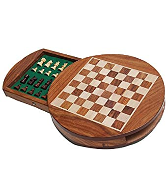Zap Impex Best Chess, Wooden Magnetic Round Travel Chess Set- 7 Inches For Travels Gift