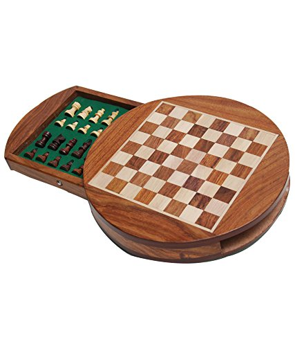 Zap Impex Best Chess, Wooden Magnetic Round Travel Chess Set- 7 Inches For Travels Gift by Zap Impex ®
