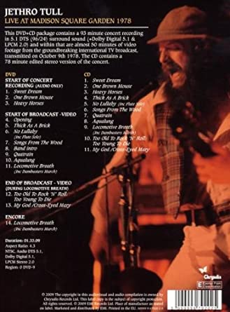 Jethro Tull Madison Square Garden 1978 Jethro Tull Amazon Nl