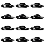 Boo! Inc. 12-Pack Hard Tricorne Pirate Hat Halloween Costume Accessory - Dress Up Theme Party Roleplay & Cosplay Headwear
