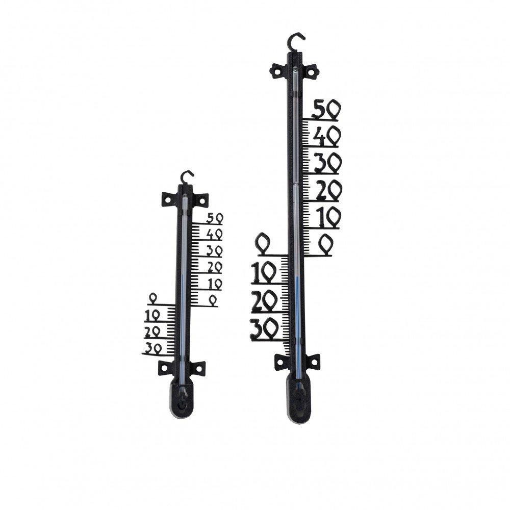 Außenthermometer 25 cm schwarz Kunststoff Thermometer Gartenthermometer draußen