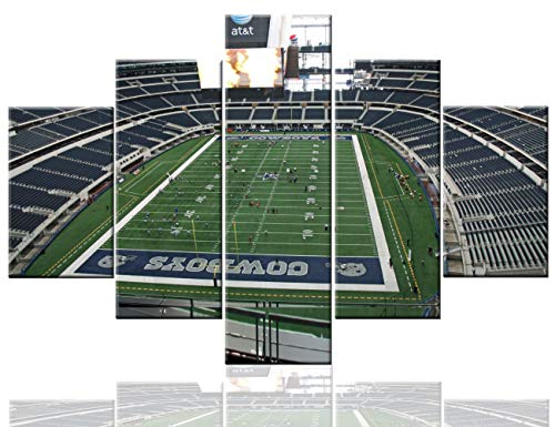 Sports Room Decorations Native American Football Paintings Cowboys Stadium Pictures 5 Pcs/Multi Panel Canvas Wall Art Home Decor for Living Room Framed Ready to Hang Posters and Prints(60''Wx40''H) - Gridiron Framed Photo