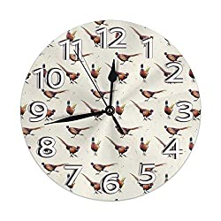 Wall Clock Pheasant Art Round Clock Silent Home Decorative Wall Clock Arabic Numerals Indoor Home/Office/School Clock 9.8 Inch
