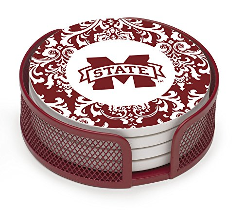 Thirstystone VMSSU4-HA22 Stoneware Drink Coaster Set with Holder, Mississippi State University Pattern (Mississippi State Bulldogs Clocks)