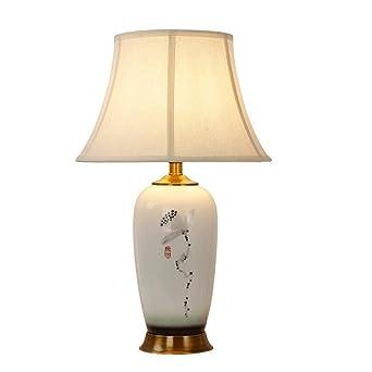 Perfekt YYF Tischleuchte Moderne Weiße Wohnzimmer Studie Keramik Tischlampe Neue  Chinesische Schlafzimmer Nachttischlampe Warme Kupfer Lampe Modell