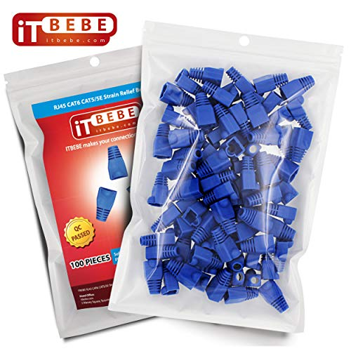 Cable Network Covers (ITBEBE Blue RJ45 Strain Relief Boot Covers 100-Count Set for Cat5 Cat5e, and Cat6 Ethernet Connectors)