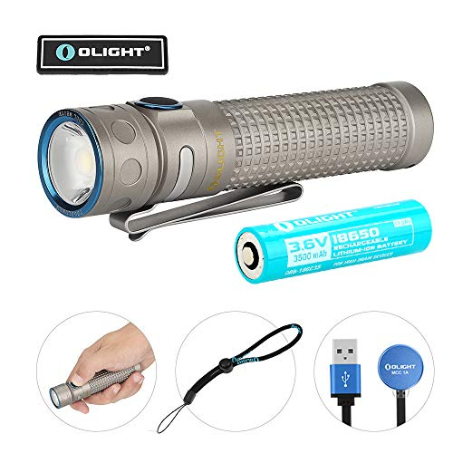 Olight Baton Pro Titanium 2000 Lumens Compact Rechargeable Side-Switch LED Flashlight with Single 3500mAh 18650 Customized Battery, Magnetic Charger (Titanium Rechargeable Batteries)