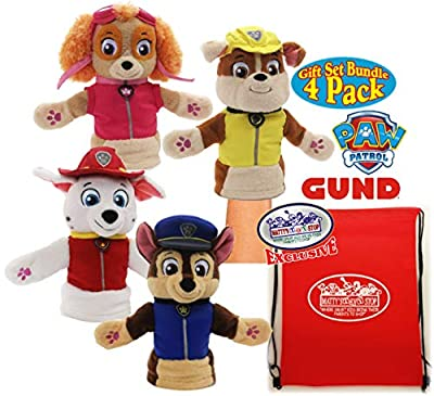 "Paw Patrol GUND Plush Hand Puppets (11"") Featuring Chase, Marshall, Skye & Rubble Gift Set Bundle with Bonus Matty's Toy Stop Storage Bag - 4 Pack"