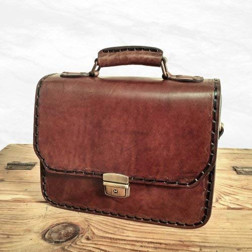 adbd3b0e2094 Amazon.com: Natural Veg Tanned Leather Messenger Bag Top Handle ...
