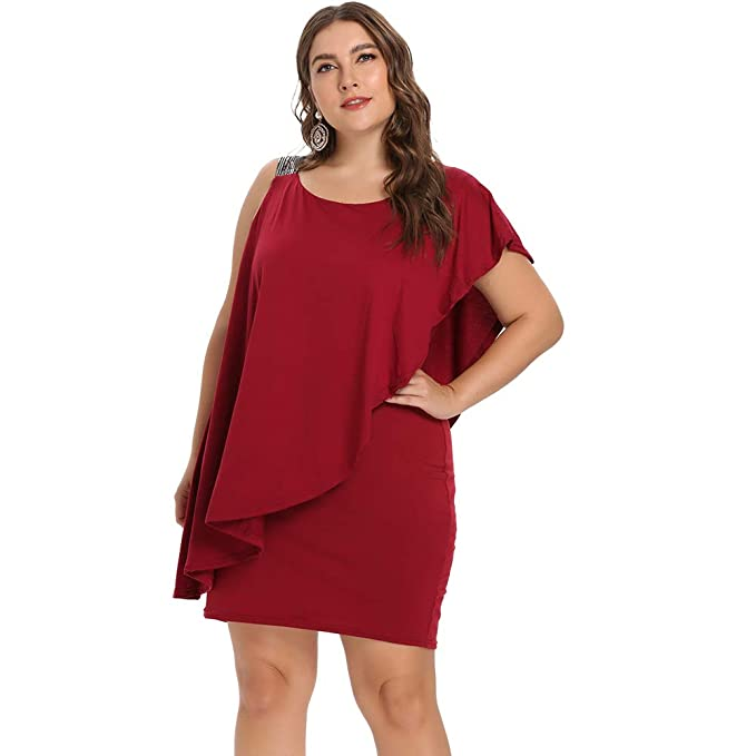 Mini Vestido Mujer Asimétrico Hombro Descubierto Vestido Ajustado de Volantes Tirante Lentejuelas Cuello Redondo Tallas Grandes