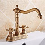 Basin Sink Mixer Tap All Copper Antique Double Hole Basin Faucet European Double Double Hole Hot And Cold Water Faucet Can Be Rotated