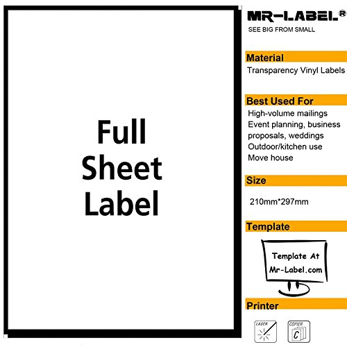 Mr-Label® Extra Large Clear Full-Sheet Strong Adhesive Labels -Transparent Tear-Resistant Waterproof Stickers for Kitchen Use | Manufacturing and Storage - Laser Print Only (10 Sheets)