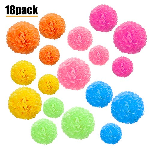 Paper Pom Pom, 18 Pcs Colored Tissue Paper Pom Pom Flower Ball Decoration, 6 Colors of 12 Inch, 10 Inch, 8 Inch ()