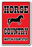 Horse Country Sign | Indoor/Outdoor | Funny Home Décor for Garages, Living Rooms, Bedroom, Offices | SignMission Parking Horses Farm Farmer Gift Tack Lover Equestrian Saddle Sign Decoration