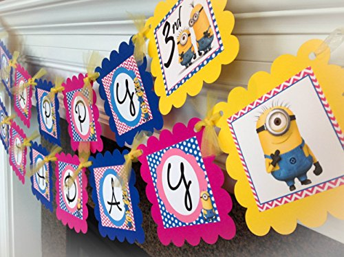 PARTY PACK SPECIAL - Minions Inspired Happy Birthday Collection - Hot Pink Chevron, Royal Blue Polka Dots & Yellow Accents - Party Packs (Party City Minions)