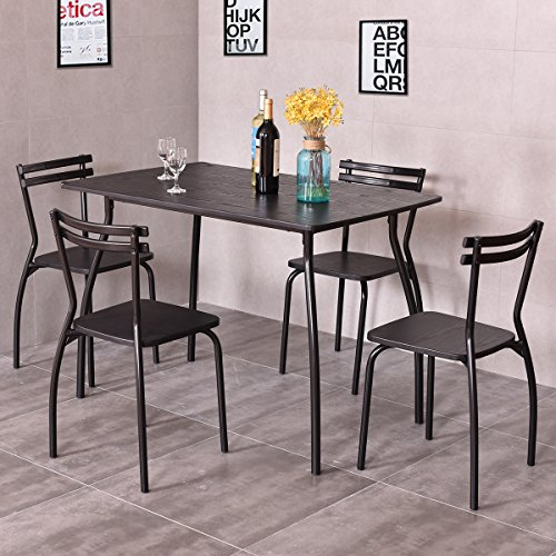 Giantex 5 piece dining set table and 4 chairs home kitchen for Kitchen set node attributes