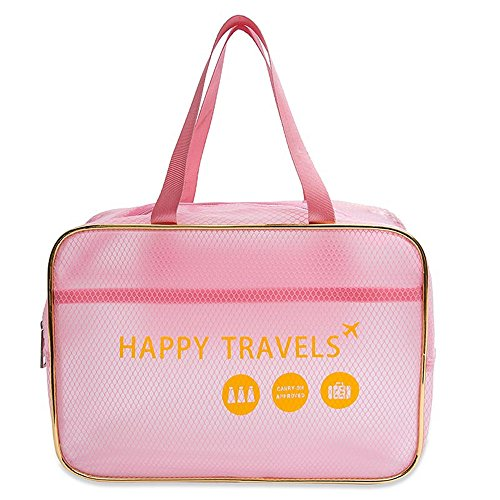 Travel Toiletry Bag, Clear PVC Cosmetic Makeup Case Beach Bag Tote, Portable Luggage Handbag Organizer with Waterproof Cellphone Case - L14 x H10 x W5