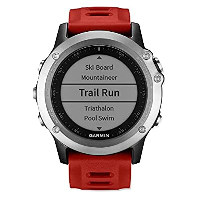 Garmin Fenix 3 Multisport Training GPS Watch Red and Silver Bundle with Heart Rate Monitor