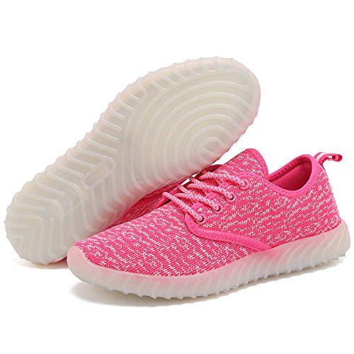 EQUICK Kinder LED Leuchten Schuhe Breathable stricken Kinder Casual Laufschuhe (kleines Kind / großes Kind) 02pink