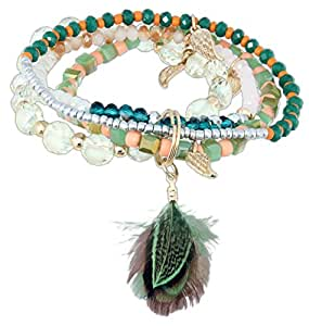 Rain 4 Piece Multicolor Beaded Feather Stretch Bracelet