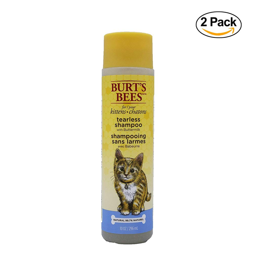 Burt's Bees for Kittens All-Natural Tearless Shampoo with Buttermilk, Pack of 2 | Best Tear-Free Shampoo for All Cats and Kittens for Gentle Fur, 10 Ounces
