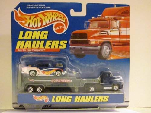 Hot Wheels - LONG HAULERS - Over the road transporter! - Tractor / Trailer and Hot Wheels 1950s CHEVY CAR (1950s Chevy Cars)