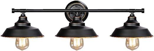 Applique Salle De Bain Noir Lampe Miroir Industriel 69cm Appliques