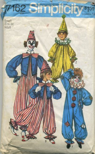 Simplicity Vintage 1975 Adult Clown Sewing Pattern # 7162