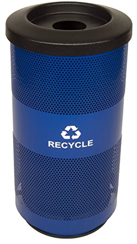 Stadium Perforated Series - Witt Industries SC20-01-RC-BL Stadium Series Waste Recycling Receptacle with Round Opening, Steel, 20 gal, Blue