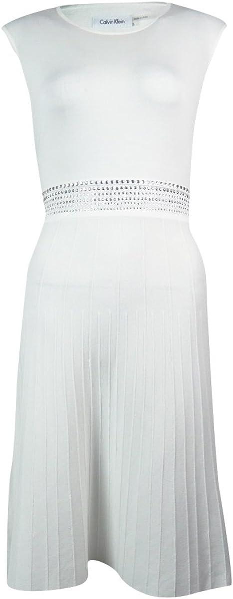 Calvin Klein Sleeveless Mid Studded Dress (Small ,  Cream)