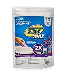 Camco Tst Ultra-concentrated Lavender Citrus Scent Rv Toilet Max Treatment Drop-ins, Formaldehyde Free, Breaks Down Waste & Tissue, Septic Tank Safe, 10-pack (41556)