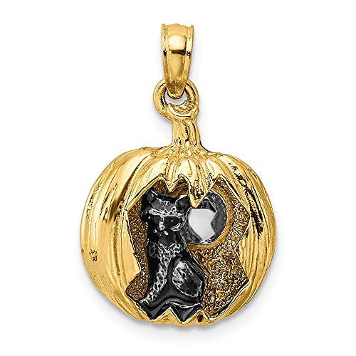 14k Yellow Gold with White Rhodium 3-D Jack-O-Lantern with Enameled Black Cat & Moon Charm Necklace Pendant with 18
