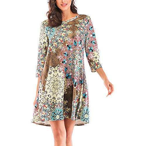 Casual Shirt Dress, Anboo Womens Casual O-Neck Printed Ethni