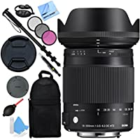 Sigma 18-300mm F3.5-6.3 DC Macro OS HSM Lens (Contemporary) for Canon EF Cameras with Pro Backpack Plus Accessories Kit
