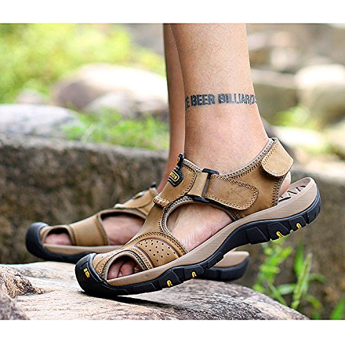 Hope Men's Closed Toe Sandals Summer Sports Leather Outdoor Sandals Trekking Shoes Khaki UvbcR