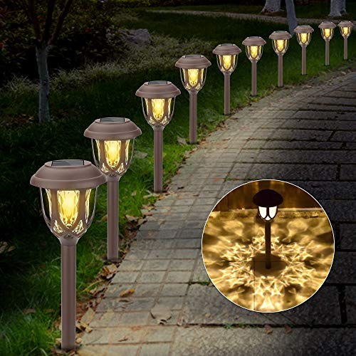 Molbory Solar Pathway Lights,10 Pack Solar Garden Lights Outdoor, Waterproof Solar Powered Garden Lights Landscape/Pathway Lights Solar Path Lights Outdoor Plastic & Glass for Landscape Patio Yard