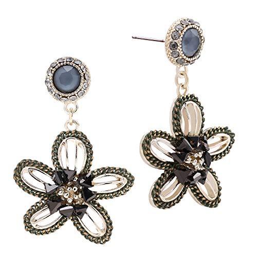 Drop Earrings Crystal Flower (SILVERAL Dangle Earrings for Women Vintage Flowers Drop Earrings Pierced Christmas Earrings(Flower Green))