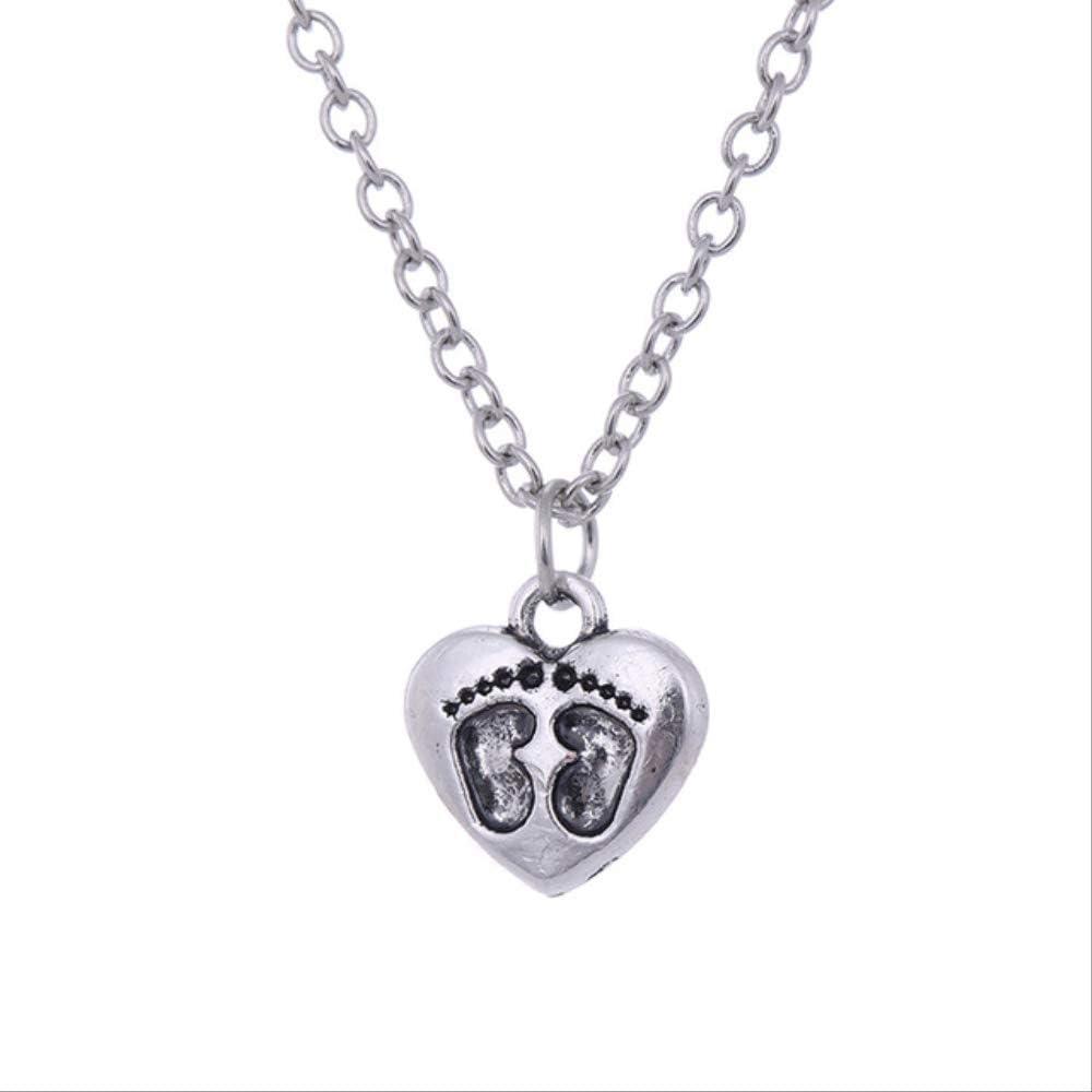 VAWAA Corazón Lindo Huella Collar Antiguo Plata Oro Amor Colgante Collares bebé Regalo conmemorativo para la Madre Padre