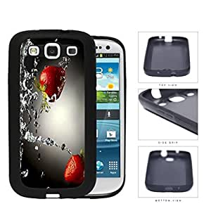 Strawberries With Water Splashing Rubber Silicone TPU Cell Phone Case Samsung Galaxy S3 SIII I9300