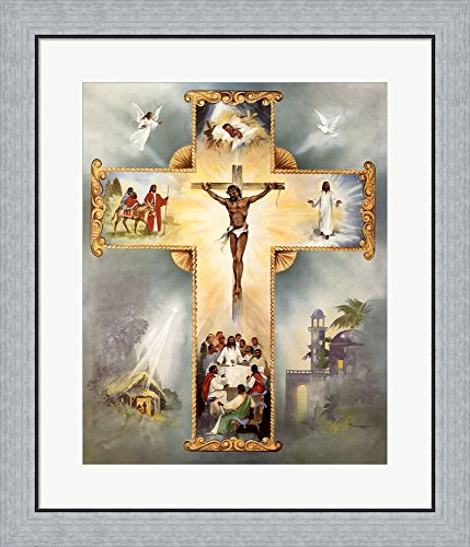 The Living Cross by Vincent Barzoni Framed Art Print Wall Picture, Flat Silver Frame, 24 x 28 inches (Print Barzoni)