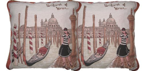 DaDa Bedding DP-G14420 Postcard of Venice Woven Decorative Pillows, 18 by 18-Inch, Set of 2
