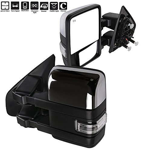 ECCPP F150 Towing Mirrors, A Pair of Exterior Automotive Mirrors fit 2004-2014 Ford F-150 with Auxiliary/Puddle/Clearance Lights Signal Indicator and Power Operation Heated Chrome Housing