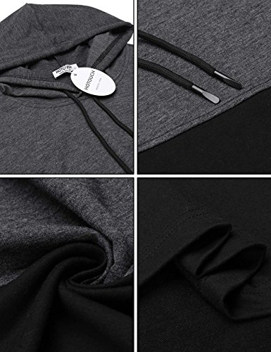 Hotouch Mens Hipster Hip Hop Fashion Pullover Hoodie Sweatshirts Jacket (Charcoal Gray XXL) by Hotouch (Image #5)