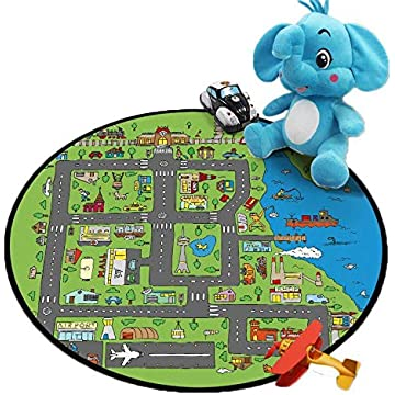 cokil Kids' Rugs Round Carpet Playmat Activity Centerp Play Mat for Bedroom Playroom Kids Room (Diameter 60cm)