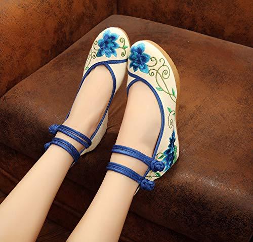 Zapatos Ricamo Azul Zapatos Jane Zapatos Clásicos Delgados Ocio Clásico Aumentados Mary 5qwwx87v6
