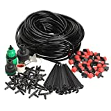 Vktech 25m DIY Micro Drip Irrigation System Plant Self Watering Garden Hose Kits