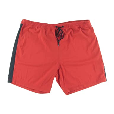 df08890021 Tommy Hilfiger Mens Quick Dry Contrast Trim Swim Trunks Red XL at ...