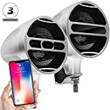 GoldenHawk All-in-One 3'' Aluminum Waterproof Bluetooth Wireless Motorcycle Stereo Speakers 7/8-1.25 in. Handlebar Mount Music Player Audio Amp System w/USB Read & Charge, FM Radio (Satin Silver)